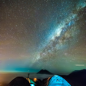 Above the ground by Andy R Effendi - Landscapes Starscapes ( crater, mountain, indonesia, ijen, east java, starscape )