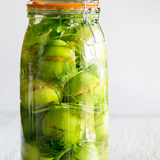 Pickled Stuffed Green Tomatoes