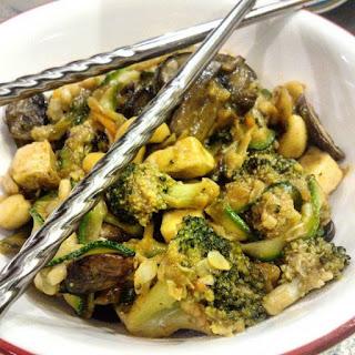 Portobello Broccoli Stir-Fry with Zoodles and Cashews.