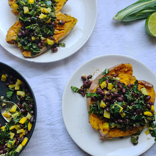 Kale and Black Bean Stuffed Sweet Potato.