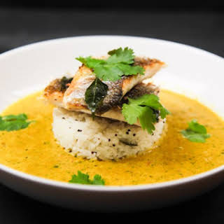 Very Simple Herbal Curry With Seabass And Lemon Rice.
