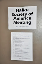 Photo: Signs welcoming people into our meeting room, including the day's schedule (click to zoom in), or visit https://sites.google.com/site/haikunorthwest/meetings-1/hsa-national-meeting-2013 to read the schedule.