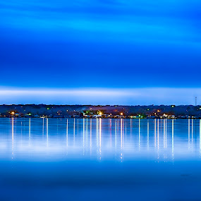 Blue Night by Sharyl Goodpaster - Landscapes Waterscapes ( blue sky, waterscape, dusk, texas, lake )