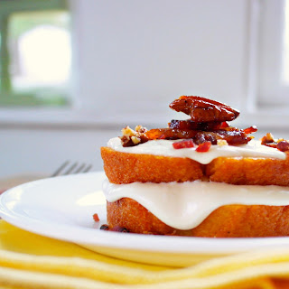Maple Glazed Pound Cake with Candied Bacon & Pecans
