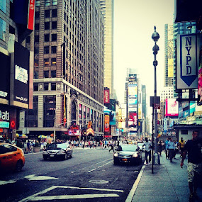 Summer 2013: 7pm at Times Square by Dhiaz Danastri - City,  Street & Park  Street Scenes