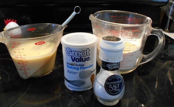 Add milk and oil. Stir gently... till blended. If to thick add a little more milk,...
