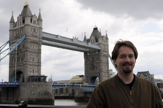 Photo: Drew gamely poses for a shot in front of Tower Bridge