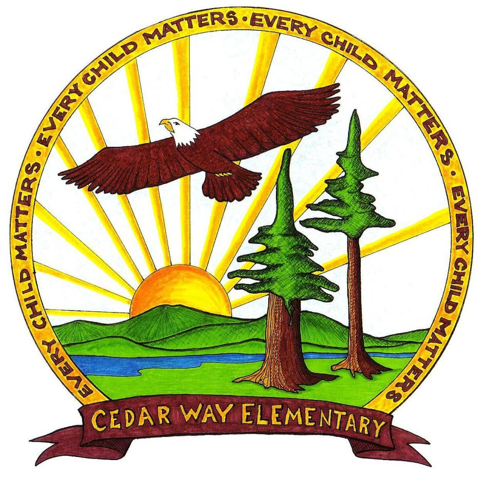 "Cedar Way logo - nature scene with sun, trees and flying eagle surrounded by circle of four repetitions of ""Every Child Matters"""