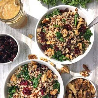 Cranberry Quinoa Salad with Kale & Walnuts.