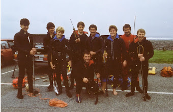 Photo: Spearfishing in Kilkee, l. to r. Jim Brown, Ciaran O'Hanrahan, Roy McCutcheon, Jim O'Connor, Martin Quinn, Pat Ryan, Frank Harty and Tony Cusack. Front Jimmy Connors.
