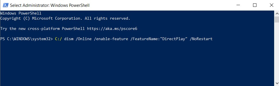 Windows PowerShell window with the command to enable DirectPlay