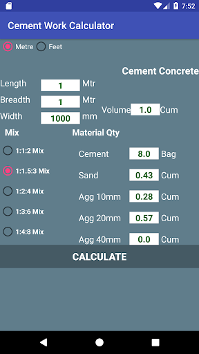 Cement Work Calculator