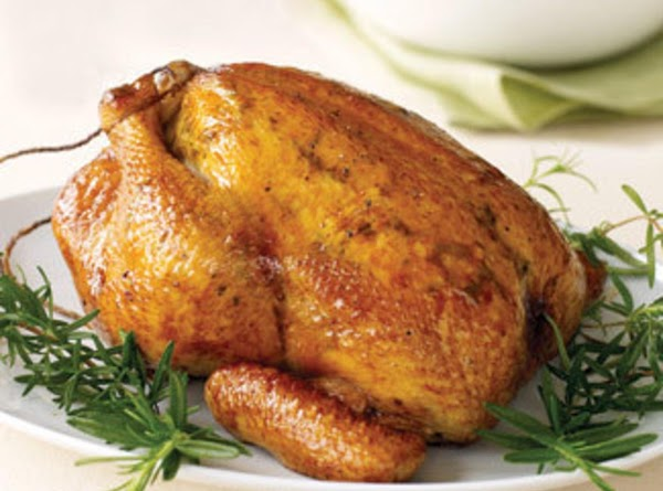 Place bird,  skin side up,  on a rack in a roasting pan,...