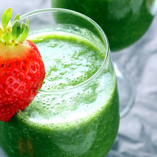 Vegan Detox Green Monster Smoothie {with kale, strawberry, cucumber, & banana}.