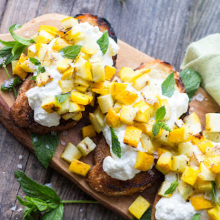 Grilled Zucchini Bruschetta with Whipped Ricotta + Mint