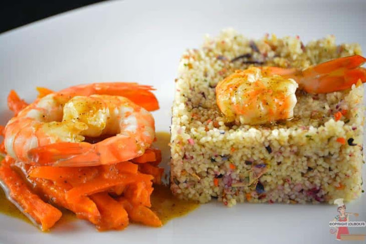 Pan-Fried Shrimp with Vanilla and Orange Sauce and Couscous