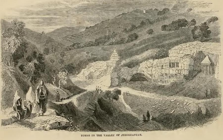 Гробницы в Иософатовой долине. From the book of Rev. J.P. Newman, From Dan to Beersheva.