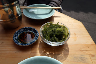 Photo: Umibudo (sea grapes) as an appetizer with beer