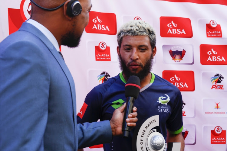 Man of the match Riyaad Norodien of Platinum Stars during the Absa Premiership match between Chippa United and Platinum Stars at Nelson Mandela Bay Stadium on February 04, 2018 in Port Elizabeth, South Africa.