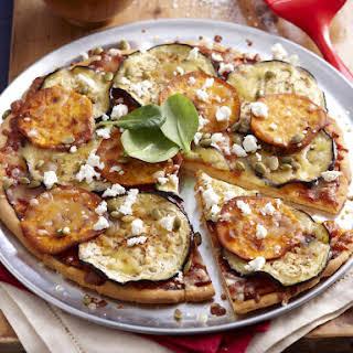 Sweet Potato, Eggplant and Feta Pizza.