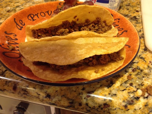 To cooked tortilla, fill first with the ground beef, about two tablespoons.