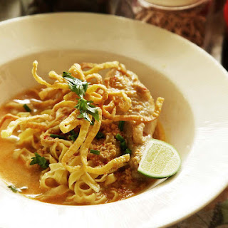 Real-Deal Khao Soi Gai (Northern Thai Coconut Curry Noodle Soup With Chicken).