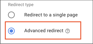 Redirect type, advanced redirect selected.