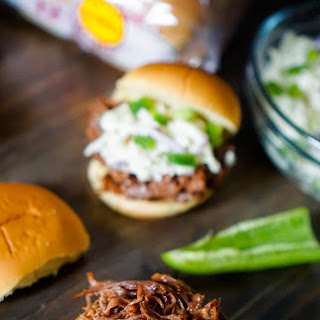 Crock Pot BBQ Brisket Sandwich with Jalapeno Cole Slaw.