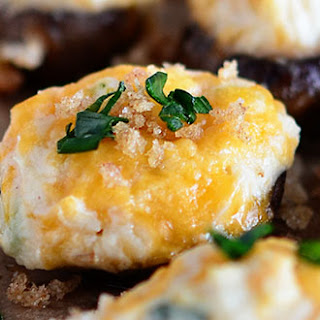 Cheesy Mashed Potato Stuffed Mushrooms with Garlic Brown Butter Breadcrumbs