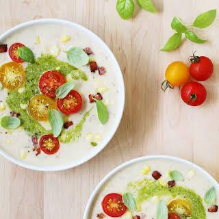 Summer Corn Chowder with Pancetta and Basil & Lemon Pesto.