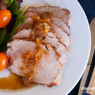 Roasted Pork Loin with Grand Marnier Onions.