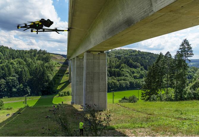Intel drone inspecting a US bridge