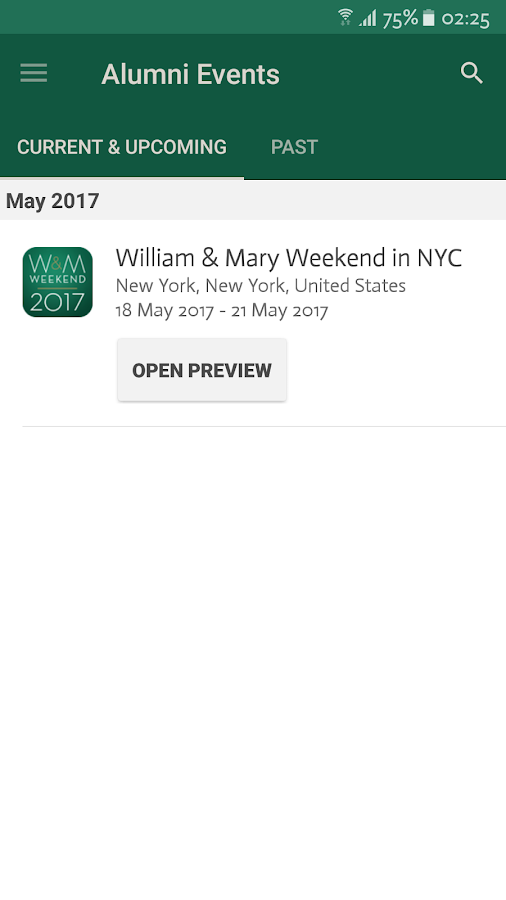 William & Mary Alumni Events- screenshot