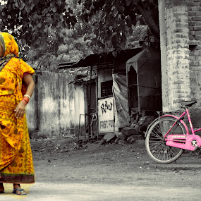 morning time color and woman by Deependra Bapna - People Street & Candids ( cycle, color, woman, morning )