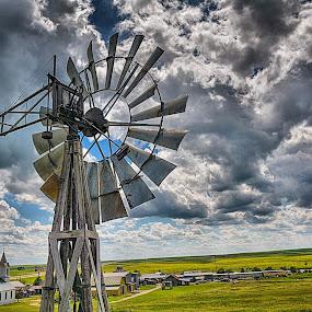 1800s Village by Darrin Ralph - Landscapes Prairies, Meadows & Fields ( clouds, church, landscape, rustic, windmill )
