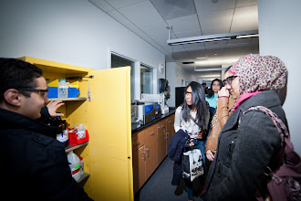 Photo: Nov 30, 2012 John Jay New Science Wing Ribbon Cutting Ceremony.In the Photo from Left to Right: Visiting Students in the Science wing Tour