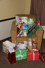 """Photo: In our hotel room. Cari said, """"I wrapped them; I want to enjoy looking at them!"""""""