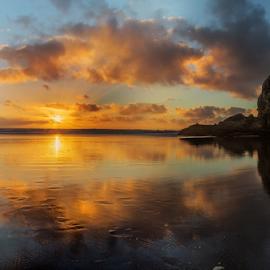 Sunset at Piha, West Coast Beach, New Zealand ... by Anupam Hatui - Landscapes Sunsets & Sunrises ( piha, colors, new zeland, beachscape, landscape, dusk,  )