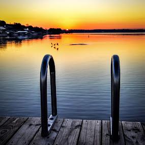 Winter Sunrise by Craig Curlee - Landscapes Sunsets & Sunrises ( boat docks, sky, lakes, lake, sunrise, landscapes )