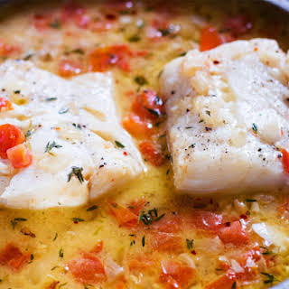 Cod with Tomato Thyme Sauce.