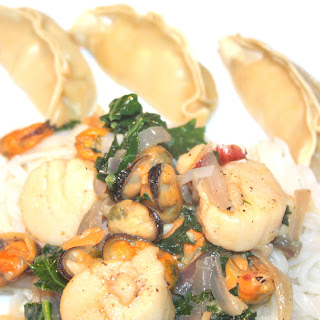 Scallops and Mussels Over Rice Noddles