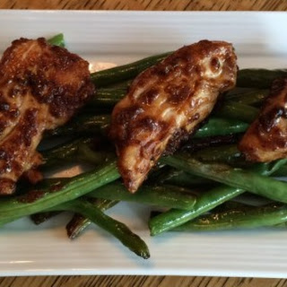 Grilled Honey Balsamic Chicken over Grilled Green Beans.