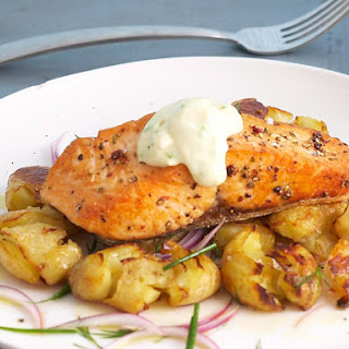 Salmon with Fried Smashed Potatoes and Lime Mayonnaise