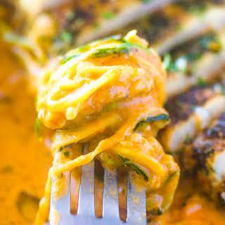 Zucchini Pasta With Tomato Cream Sauce.