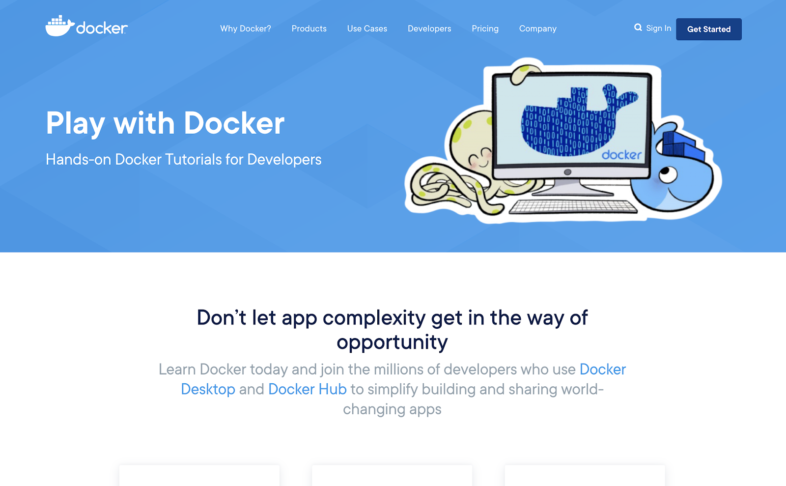 Play With Docker landing page