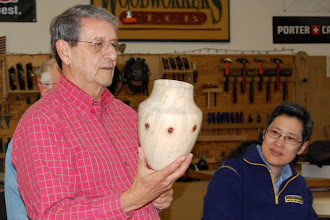 Photo: Jerry Kaplan shows his Norfolk Island Pine vessel with only the natural color from the pine.