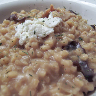 Risotto-Style Bulgar with Wild Mushrooms and Goat Cheese