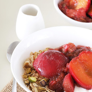 Plum and Rhubarb Compote with Pistachio Fig Muesli