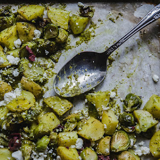 Crispy Roasted Potatoes & Sprouts With Cilantro Sauce, Goat Cheese