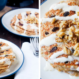 Carrot Cake Greek Yogurt Pancakes.